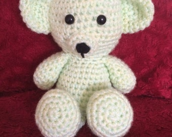 Sitting crocheted teddy bear