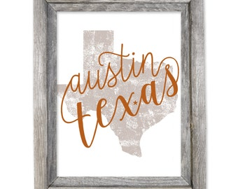 Austin Texas 8x10 Print / Canvas Texture / Wall Art