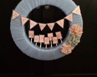 Custom Welcome Baby Wreath