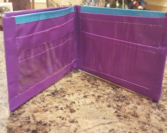 Purple and blue duct tape wallet with ID slot