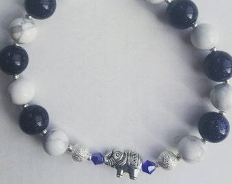 blue sandstone and howlite bracelet