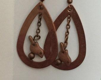 Copper bird teardrop earrings