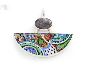 Force of Nature Pendant with Cloisonné Enamel and Ametista Stone in Silver / More than Jewelry / Wearable Art Necklace / Inspired by Nature