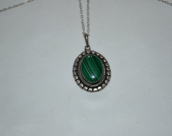 Sterling Silver and Agate Pendant Necklace