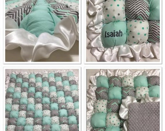 Personalized Bubble Quilt with Name - Baby Boy Quilt - Made to Order!