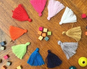 "1"" Cotton Tassels - Pick any 3, colored tassels, tassels for jewelry making, jewelry supplies, beadwork, handmade tassels colorful"