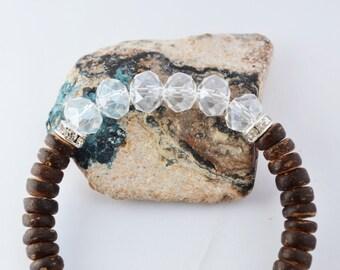Brown Coconut Shell Bracelet Chezh Glass Bracelet Coconut Bracelet White Brown Bracelet Beach Bracelet Beach Jewelry Coconut Jewelry