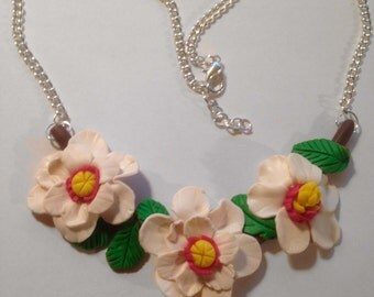 Polymer Clay Magnolia Flowers Necklace