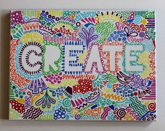 Create, Zentangle, Zentangle Painting, Create Canvas, Kids Room Decor, Kids Art, Handmade, Acrylic Painting, Canvas Art, 12x16 Canvas