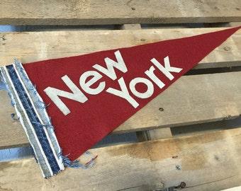 Handmade Felt Pennant with Denim Selvedge Detail- New York