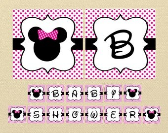 Minnie Mouse Banner, Pink Minnie Mouse, Baby Shower Banner, Minnie Mouse Baby Shower, minnie mouse decoration, polkadot birthday banner, pdf