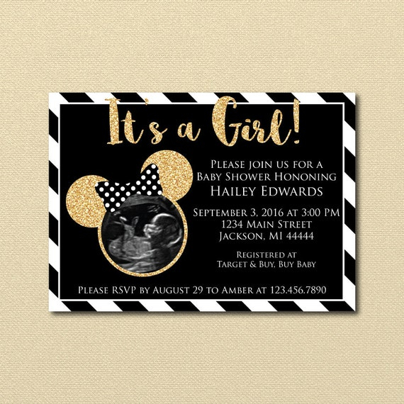 Minnie Mouse Ultrasound Baby Shower Invitation Gold Glitter