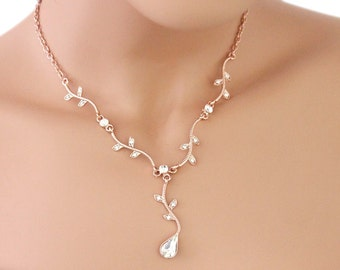 Rose gold Bridesmaid necklace set, Bridal jewelry set, Bridesmaid jewelry set, Bridal party jewelry, Wedding jewelry set 1S0184RG
