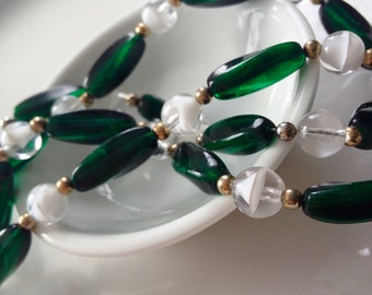 Vintage Glass Beads Green and Opaque White Necklace