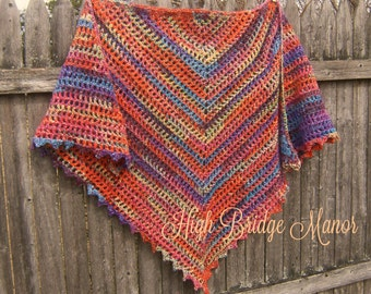 Crochet shawl, wrap for spring and summer.   Bright, summer colors.  Triangle, butterfly style.  Ready to Ship.
