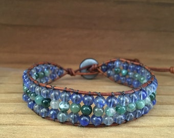 Agate and Quartz - Gemstone Leather Beaded Bracelet
