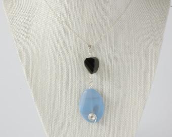 Blue Agate & Smoky Quartz Necklace