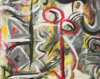 """The He-wolf (18""""W x 24""""H X 1.5""""D, Jackson Pollock inspired, Modern, Abstract, Painting)"""