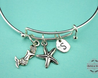 Mermaid Bangle, Starfish Bangle, Beach Bangle, Beach Theme,Bangle, Bracelet, Charm Bracelet,Silver Plated Bangle, Initial Charm,Personalized