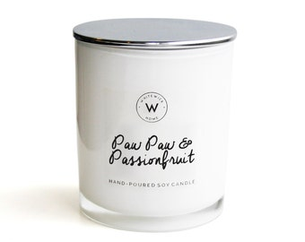 Scented Soy Wax Candle - White Medium Glass Jar 'Paw Paw & Passionfruit' with silver chrome lid