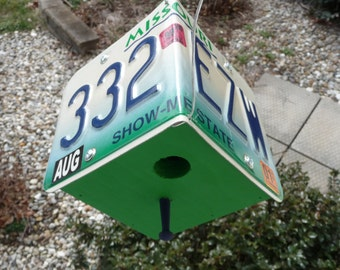 "Missouri ""Show-Me State"" License Plate Birdhouse"