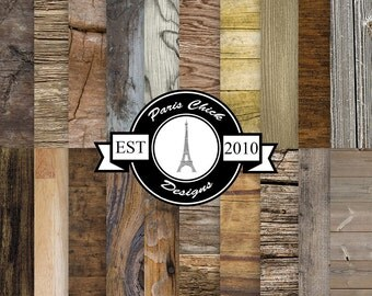 Paris Chick Designs Wood Texture Printable Scrapbooking Paper - 20 Pack