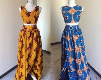 African print crop top and wrap skirt