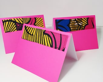 Tropical Pink Blank Cards with Envelopes // Colorful Print Greeting Card // Bright African Print Blank Greeting Card