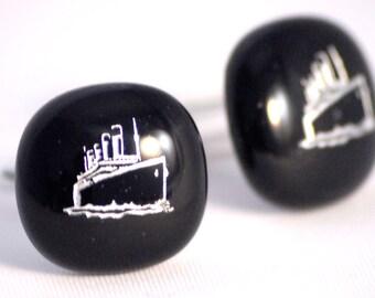 Glass Titanic Cufflinks