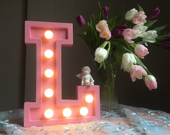 "L light letter, nightlight, wooden light letter ""L"""
