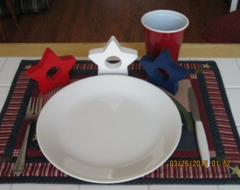 Set of 3 Patriotic 4th of July or Memorial Day Red ,White, Blue Star Napkin rings / holders