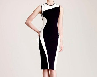 White and Black Geometric Dress