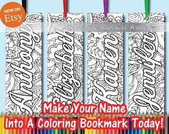 30 Custom Name Coloring Bookmarks with Ribbon / Personalized Bookmarks / Favorite on Instagram Likes Twitter & Tumblr