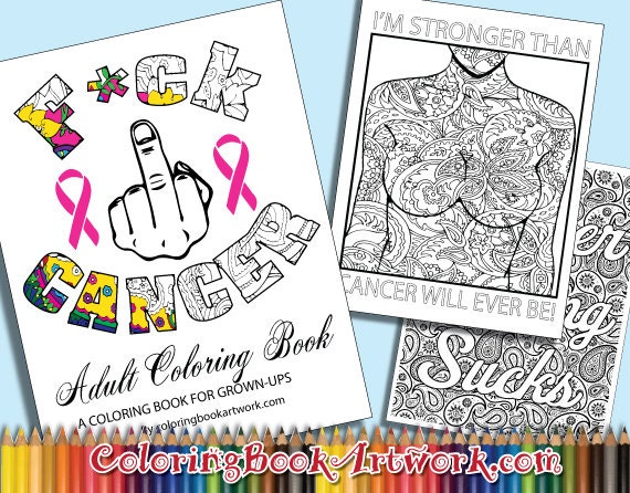 7 Page Fuck Cancer Sweary Curse Word By ColoringBookArtwork