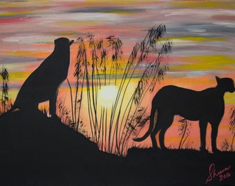 Cheetah Silhouette in Acrylics