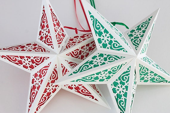 Paper star lantern w snowflakes svg cutting file pdf zip for Paper star cut out template