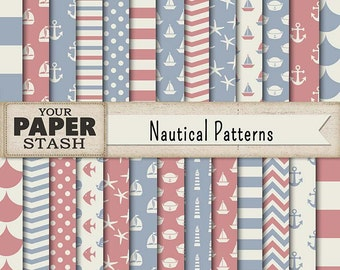 Nautical Digital Paper, Blue & Pink, Baby Boy, Baby Girl, Digital Paper Pack, Nautical, Nursery Paper, Scrapbooking Paper, Commercial Use