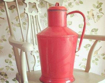 Vintage French Red Enamel Milk Water Pail Pot, Enamelware, French Kitchen Decor, Large enamel milk churn
