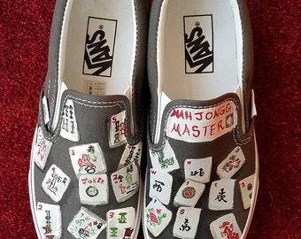 Hand-Painted Mah Jongg Canvas Shoes