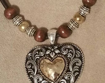 Western Heart Pendant Handmade Necklace