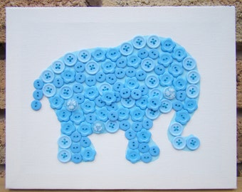 Nursery Decor Button-Art Baby Blue Elephant