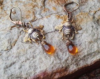 HONEY BEE  Earrings, Amber Drop of Honey Earrings, Amber Glass, Bumble Bee Jewelry, Honey Bee Necklace
