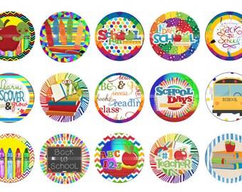 "School bottlecap images Back to school cap images  Digital 1"" teacher images"
