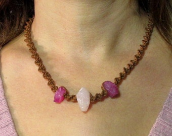 """Necklace with Rose Quartz and chalcedony """"there is life"""""""