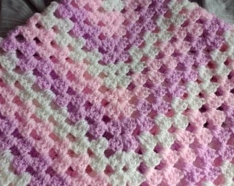 Pink, purple and white crochet baby blanket