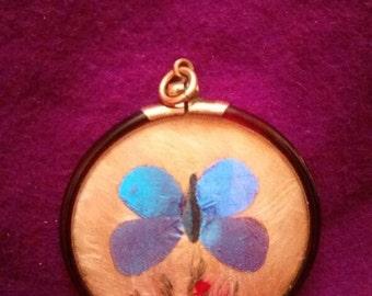 Victorian Moth Butterfly Silk Pendant