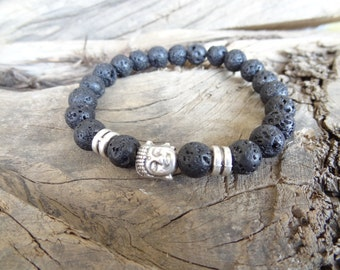 EXPRESS SHIPPING,Lava Stone Bracelet,Men's Buddha Bracelet,Men's Bracelet,Lava Rock Bracelet,Yoga,Meditation,Beaded Spiritual,Gift for Him