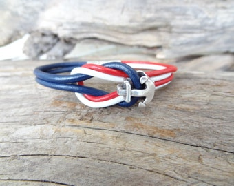EXPRESS SHIPPING,Men's Jewelry, Nautical Bracelet, Red,Blue,White Leather Bracelet, Anchor Magnetic Clasp Bracelet, Father's Day Gift