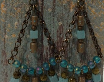 Turquoise Beaded Chandelier Earrings