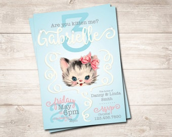 Vintage Kitten Birthday Invitation Printable